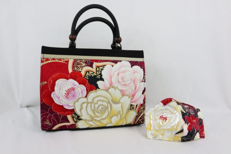 振袖柄のバッグ&マスク(赤) 商品画像
