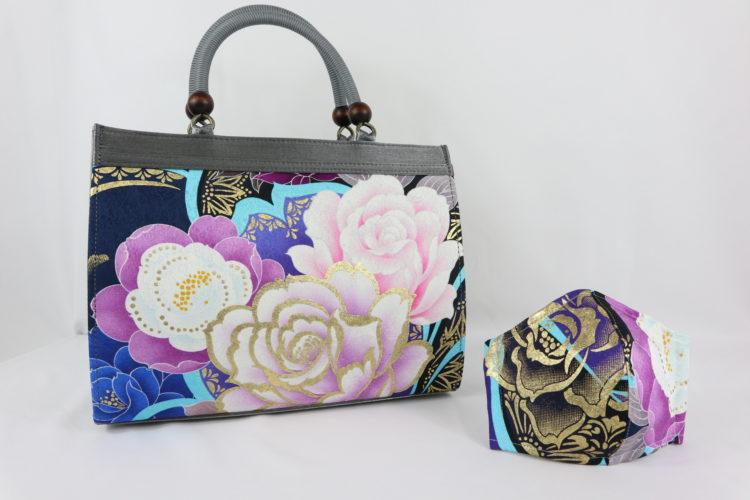 振袖柄のバッグ&マスク(青) 商品画像